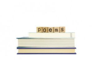 poems word on wood stamps and books