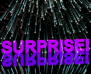 Surprise Word And Fireworks Showing Shock And Celebration
